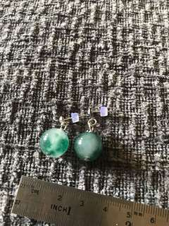 Green glass Earrings free postage
