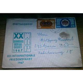 Old envelope XX. Internationale Friedensfahrt dated 1967