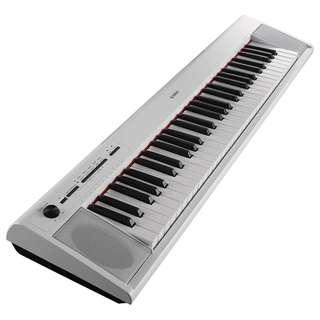 NP-12 White - Yamaha Piaggero Portable Keyboard plus Portable Keyboard Stand L-2C