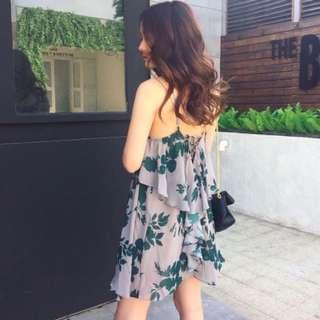 Candy w 碎花雪紡連身短裙 綁帶露背洋裝 喜酒 渡假