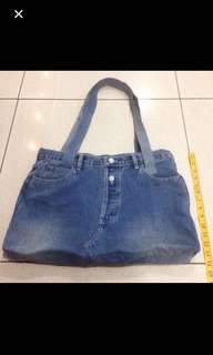 Original Vintage 90's Replay Washed Denim Jeans Shoulder Bag Made In Italy