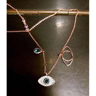 Swarovski施華洛世奇水晶 DUO EVIL EYE 鏈墜, 藍色, 混搭多種鍍層  (原價HK$ 900)