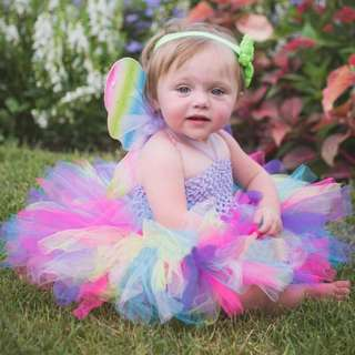 🦁Instock - 2pc multicolor tutu set, baby infant toddler girl children sweet kid happy abcdefgh hello there