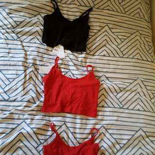 BNWT Ribbed cropped camis