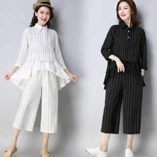 68255 #春装新款時尚條纹七分袖闊腿七分褲 兩件套   颜色:白色 黑色  尺码:M L XL 2XL