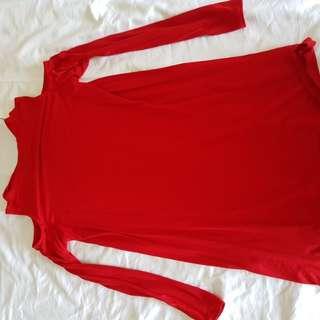 Bright red shoulder cut top