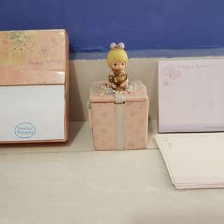 Precious Moments Post-its, Small porcelain box, notepad