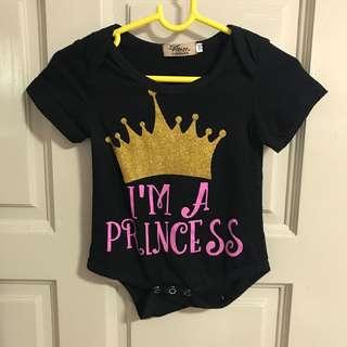 Little princess romper black glitter dress baby girl