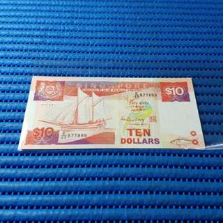 877899 Singapore Ship Series $10 Note E/49 877899 Nice Prosperity Number Dollar Banknote Currency HTT