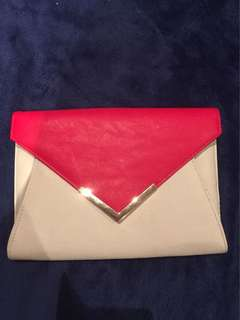 Pink and white purse clutch
