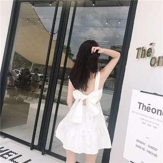 清新氣質小女人綁帶美背洋裝