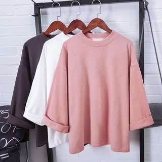 Ulzzang Korean Top Grey White Pink