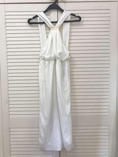 White dress with low back midi