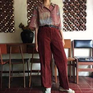 Vintage Maroon Corduroy Trousers