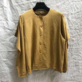 Vintage 真絲 長袖 襯衫 鉻黃色肩膀特殊設計