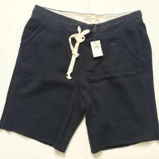 A&F abercrombie 全新未使用短褲,棉褲 深藍色 M號