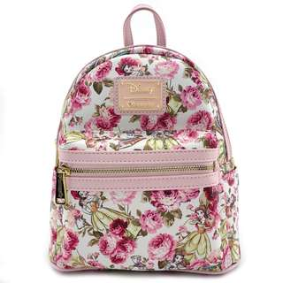 Loungefly x The Beauty and the Beast Character Floral Print Mini Faux Leather Backpack