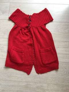Red knitted TOP with 2 pockets