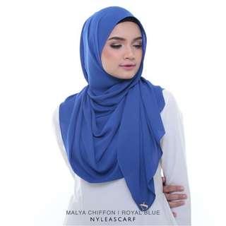 Malya By Nyleascarf(chiffon) - Royal Blue
