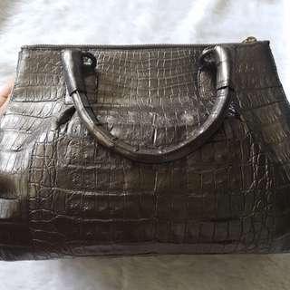 Like New Nancy Gonzalez Genuine Caiman Crocodile Pewter Bag