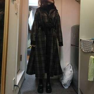 日本購入古著格紋長版洋裝大衣