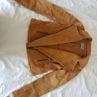 100% leather suede tan jacket