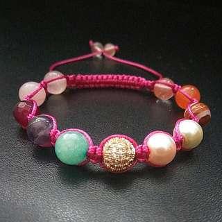 Rose Gemstones Zirconia Shamballa Macrame Adjustable Straps Bracelet, Women Power Stone Bracelet Gift Bridal Bridesmaids gifts