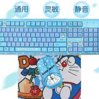 PO Wireless Doraemon Keyboard + Mouse + Mouse pad Set