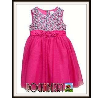 Camilla Fuchsia Pink Floral Mesh Girl's Dress