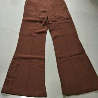 棕色喇叭褲長褲寬口褲