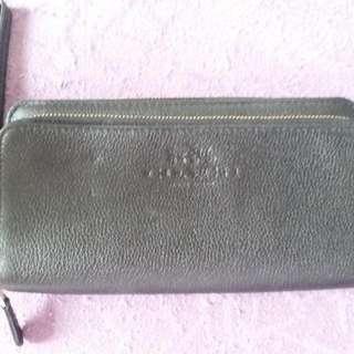 coach clutch long wallet 黑色真皮
