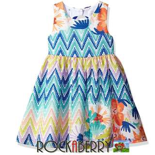 Rare Editions Floral Chevron Skater with Sexy Back Dress