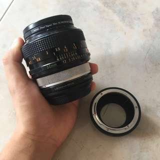 Canon 55mm f1.2 SSC + 0.71x focal reducer for m43