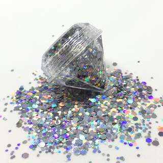 Holographic Silver Cosmetic Glitter 5ml Diamond Pot