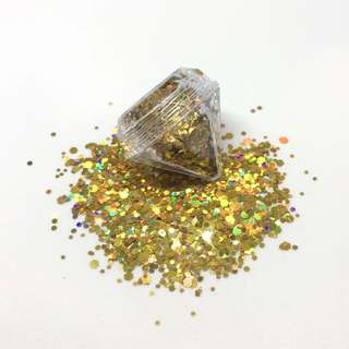 Holographic Gold Cosmetic Glitter 5ml Diamond Pot