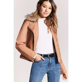 Forever21 Faux Fur-collar Moto Jacket