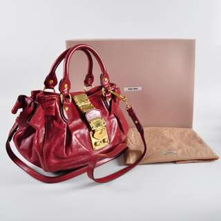 AUTHENTIC Miu Miu Red Vitello Leather Tote , with Long Sling Strap