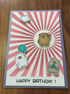 Handmade birthday card (3 bears)