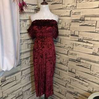 red velvet bardot dress