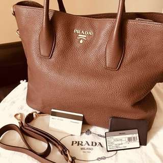Prada Vitello Daino Leather Shopping Tote BN2317