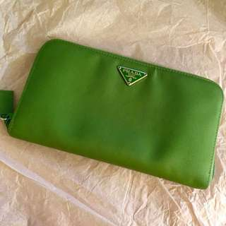 Prada Tessuto Long Wallet in Green