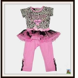 DDG Pink Leopard Tutu Legging Set