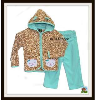 Animal Print Mint Green Hoodie Jog Jacket Set
