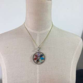 Brand new natural stones amethyst, lapis, tiger eye, turquoise, jasper, quartz pendent necklace