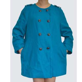 PORTSMAN Blue Green Wool Trench Coat Jacket Spring Autumn