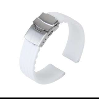 20mm white soft rubber Silicone watch with deployment buckle