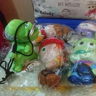 Toy Story 人物 斜孭袋仔 共6個 胡迪 巴斯 翠絲 龍龍 三眼仔 火腿