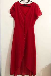 Cotton On Red High Low Flowy Dress