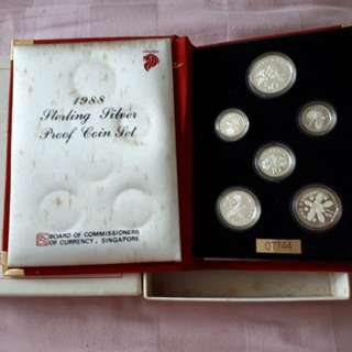 1988 Singapore Sterling Silver Proof Coin Set