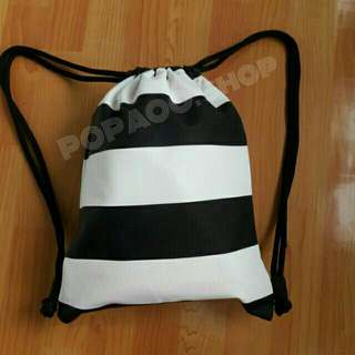 B&W Stripes Draw String Bags / BackPack